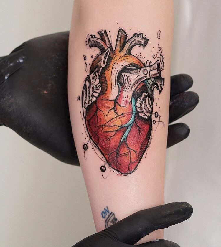 Heart Geometric Tattoos