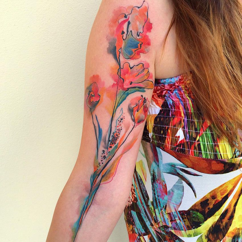 Floral Watercolor Tattoo