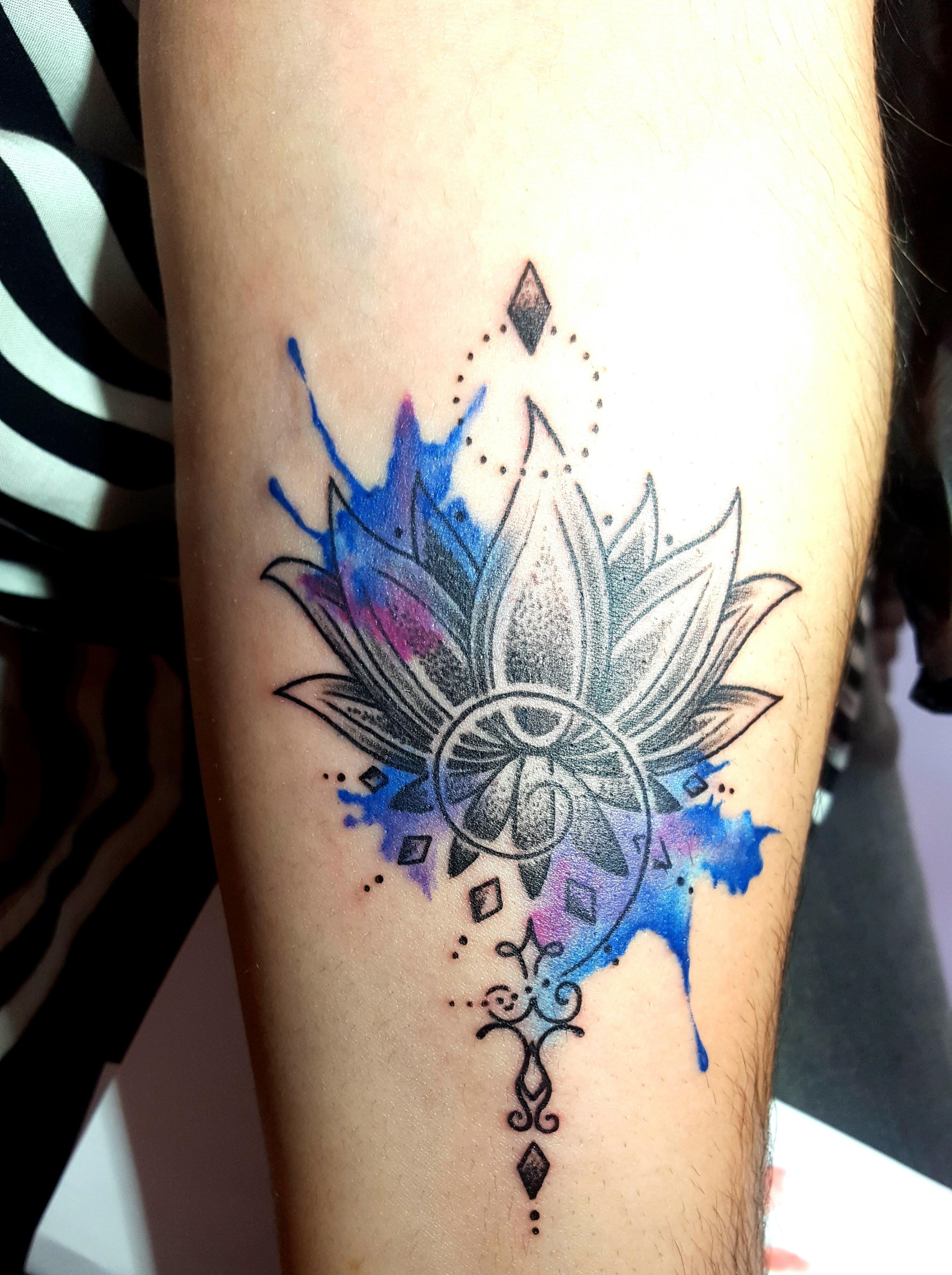 Lotus Watercolor Tattoos